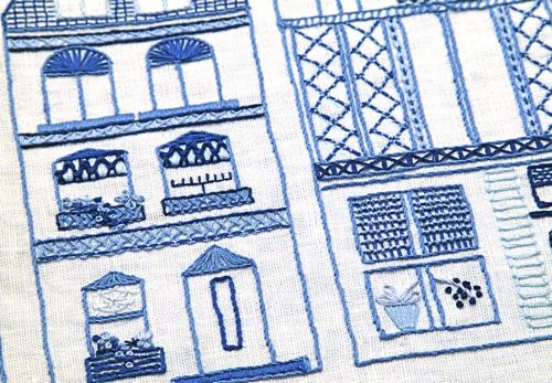 Close up of Dutch Canal Houses embroidery