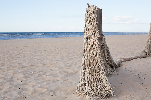 Landscape with fishing net on Baltic sea