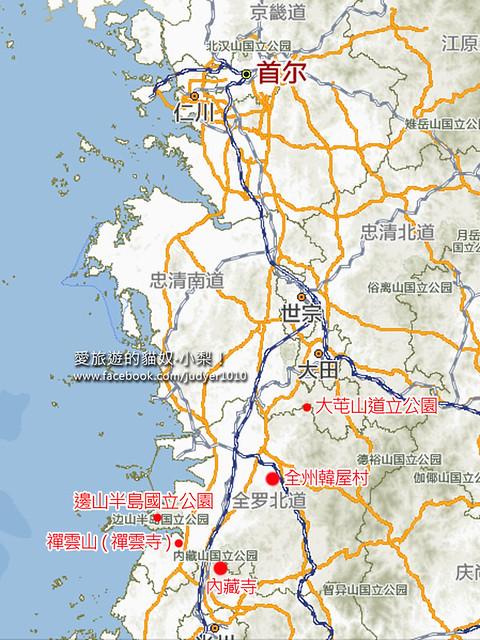 韓國賞楓地圖
