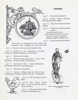 A calendar page from the 1897 Metate, mentioning a chicken pox outbreak and Dean Norton learning to ride a bicycle