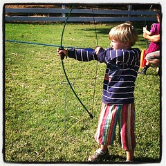 Asher, my lefty #harvestfaire #son #skills #waldorf #archery