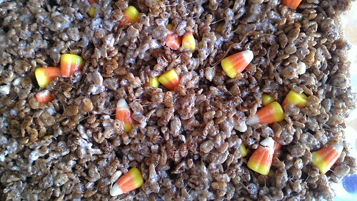 Cocoa Krispies Treats with Candy Corn
