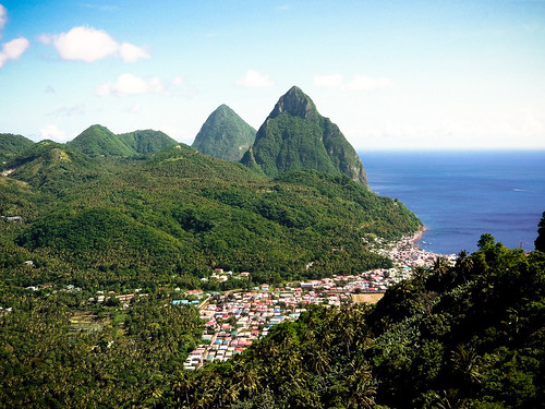 Soufriere beneath the Pitons of St. Lucia