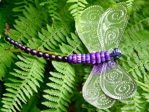 Tin Punch and Gypsy Trade Bead Dragonfly by Pam Harris