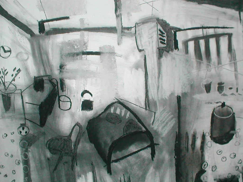 <span>Seawhite Studio 1 study</span>. charcoal on paper 84x60cm SOLD