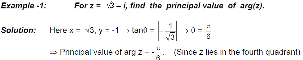 PRINCIPAL ARGUMENT OF A COMPLEX NUMBER Examples