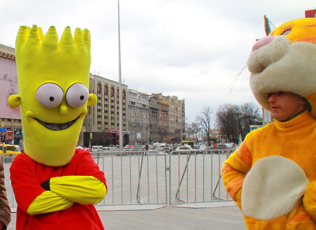 bart, garfield mascots
