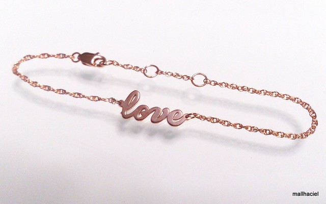 Jennifer Zeuner Jewelry Cursive LOVE Bracelet in Rose Gold