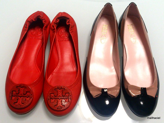 Tory Burch Reva Tonal Logo Flats and Red Valentino Bow Flats