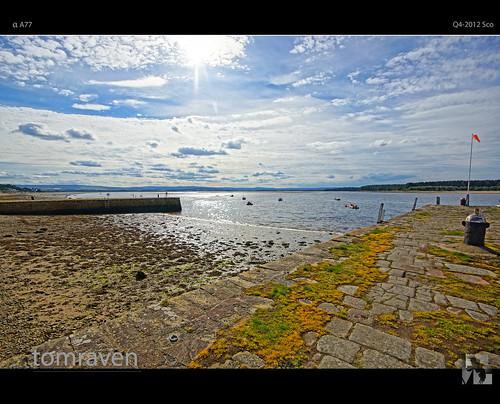 light sea sky sun water clouds bay scotland pier dock moray findhorn findhornbay tomraven aravenimage q42012