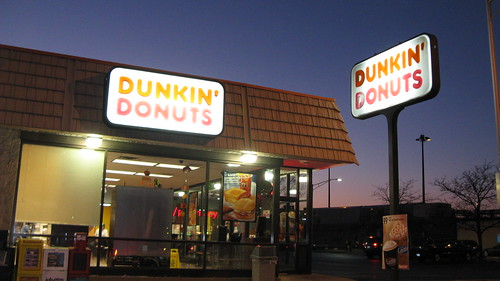 Dunkin Donuts on North Harlem Avenue at twilight.  Forest Park Illinois.  October 2012. by Eddie from Chicago