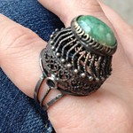 sterling and vaulted green stone ring from tag sale in Dix Hills