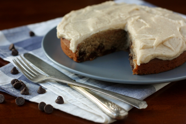 Banana-Chocolate Chip Cake with Brown Butter Icing