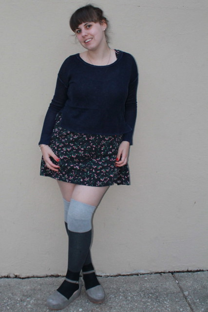 Alice outfit: rosebud dress, grayscale color-block over-the-knee socks, flatforms, cropped paper-thin cashmere sweater from Styemint,