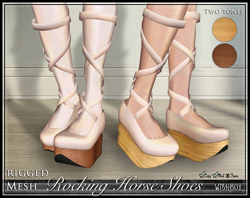 Rocking Horse Shoes from Wishbox in Second Life (Cream)
