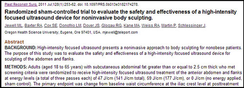 Joel Schlessinger MD evaluates safety and efficacy of ultrasound for body sculpting