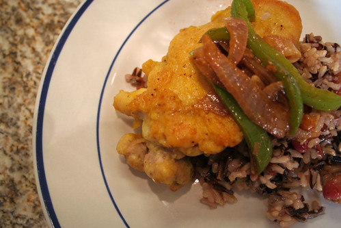 Crispy Curried Chicken with Wild Rice, Grapes and Green Beans
