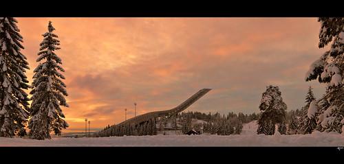 sunset ski oslo norway norge skijump holmenkollen noorwegen kollen d7000