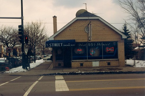 West 55th Street Sports Bar located on the southwest corner of West 55th Street and South Keeler Avenue.  Chicago Illinois.  Early March 1989. by Eddie from Chicago