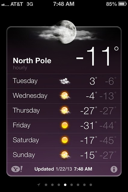 Temp at the North Pole
