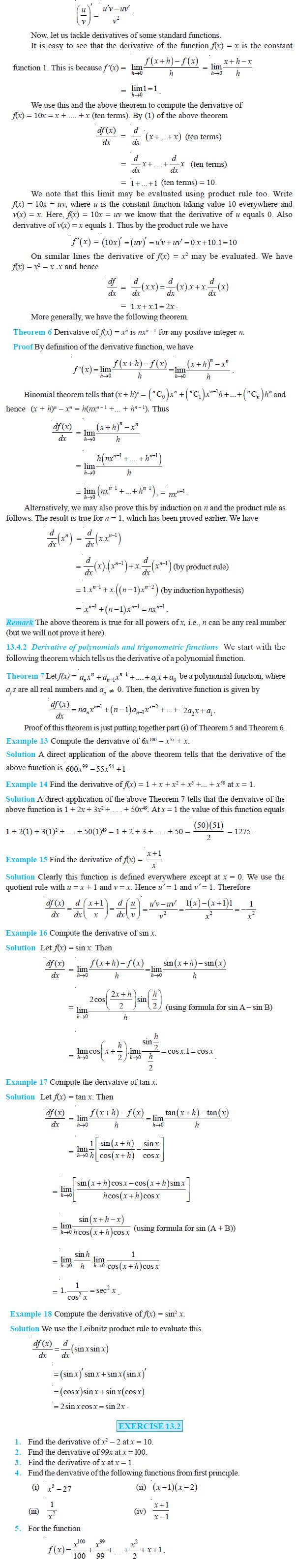 NCERT Class XI Mathematics Chapter 13 – Limits and Derivatives