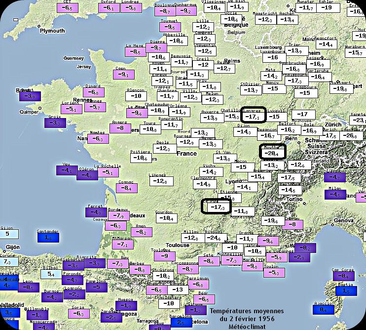 températures moyennes glaciales du 2 février 1956, jour le plus froid jamais enregistré en France météopassion