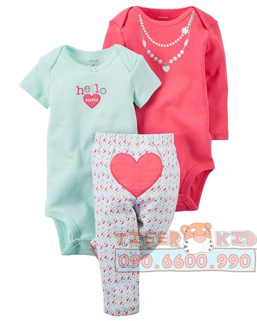 Quần áo trẻ em, bodysuit, Carter, đầm bé gái cao cấp, quần áo trẻ em nhập khẩu, 517-Set 3 món bé gái nhập Mỹ 3M-24M