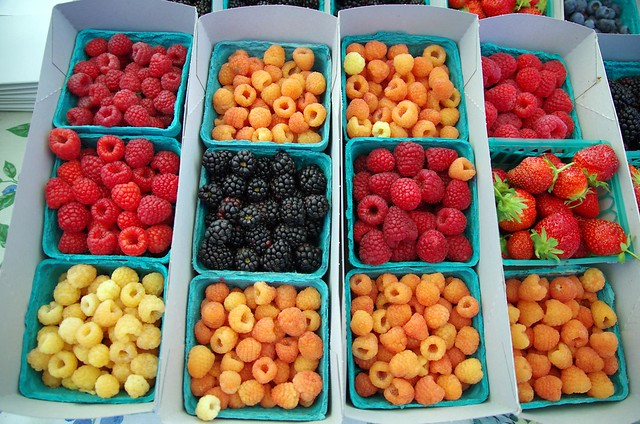 Colourful fresh berries, Farmers market - Santa Monica, California, USA