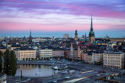 sunset sunrise dawn day cloudy sweden stockholm södermalm slussen gamlastan sverige oldtown soluppgång morgon söder katarinahissen kornhamnstorg gryning