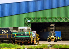 vehicle, transport, shipping container, locomotive, urban area, rolling stock, cargo, land vehicle, railroad car,