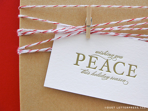 letterpress peace holiday gift tags