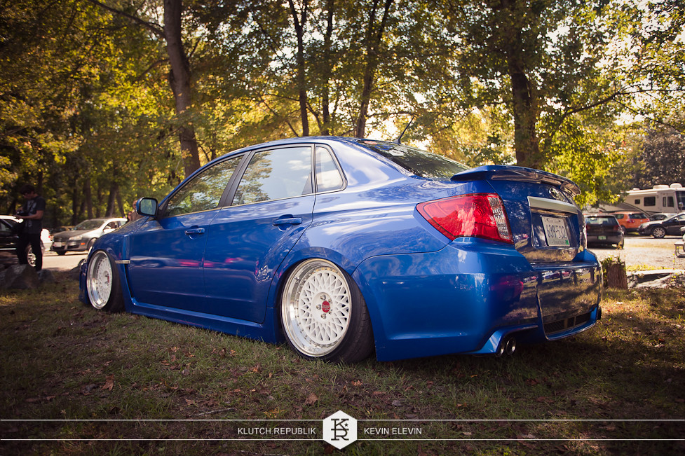 2012 blue subaru wrx sti image wheels at h2oi 2012 3pc wheels static airride low slammed coilovers stance stanced hellaflush poke tuck negative postive camber fitment fitted tire stretch laid out hard parked seen on klutch republik