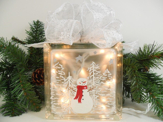 Lighted Glass Block Snowman Snow Scene 5 34 X 3 14 Hand Painted Flickr Photo Sharing