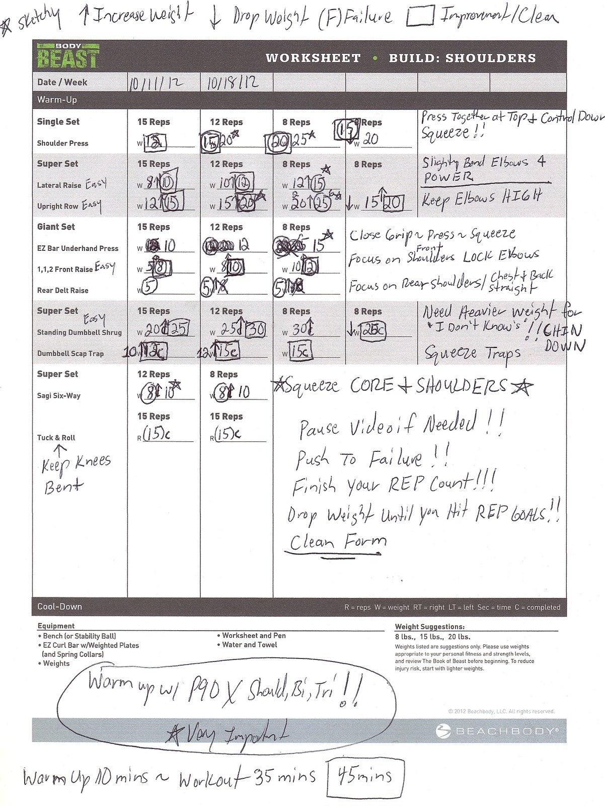 P90x Chest Back Worksheet – P90x2 Worksheets