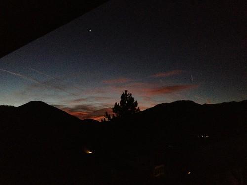 sky night sunrise germany bayern deutschland bavaria venus im can be seen winkl reit prominently