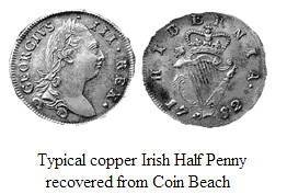 Irish HAlf penny from Coin Beach