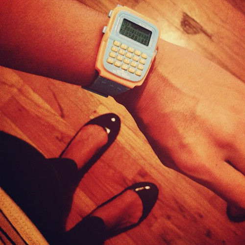Classing up my outfit with my new calculator watch.