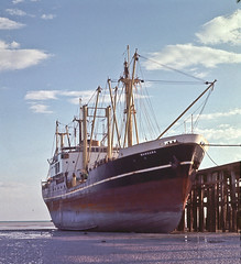 State Ship's MV Wangara on the Mud, Broome Jetty, Circa 1965