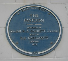 Photo of The Pavilion, Torquay, H. A. Garrett, and R. E. Narracott blue plaque