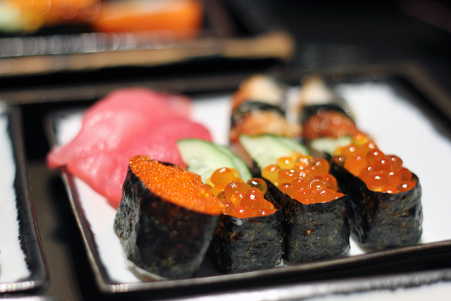 Salmon roe rolls at Oishi Grand