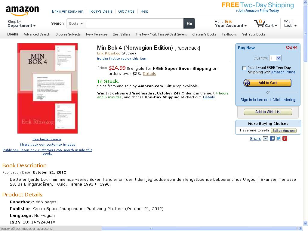 min bok 4 mulig å bestille på amazon