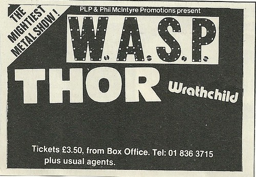 10/24/84 WASP/ Thor/ Wrathchild @ The Lyceum, London, England