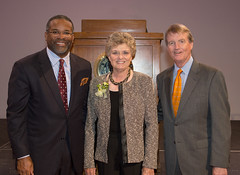 Dr. Gregory Vincent, Jody Conratd, and President Powers