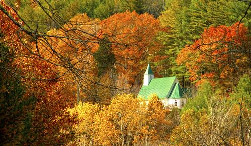 autumn mountains color church nc north carolina vallecrusis valeofthecross