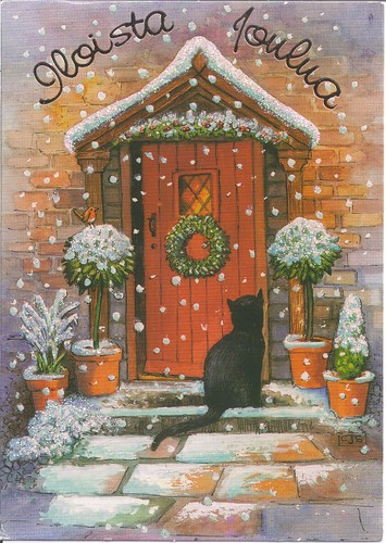 Happy Christmas Cat at Door