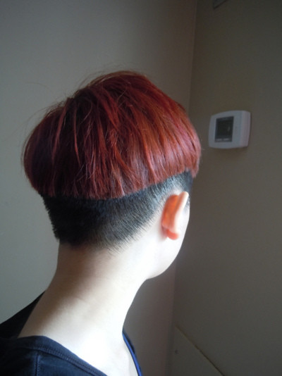 Variation of bowlcut,nape