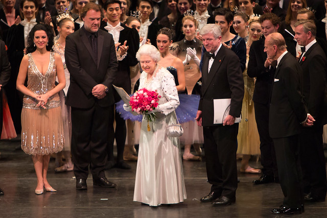 The Queen with Angela Gheorghiu, Bryn Terfel, Tony Hall, Prince Philip and Artists of The Royal Ballet and The Royal Opera at the Royal Opera House's One Extraordinary World Gala © Andre Uspenski/ROH 2012