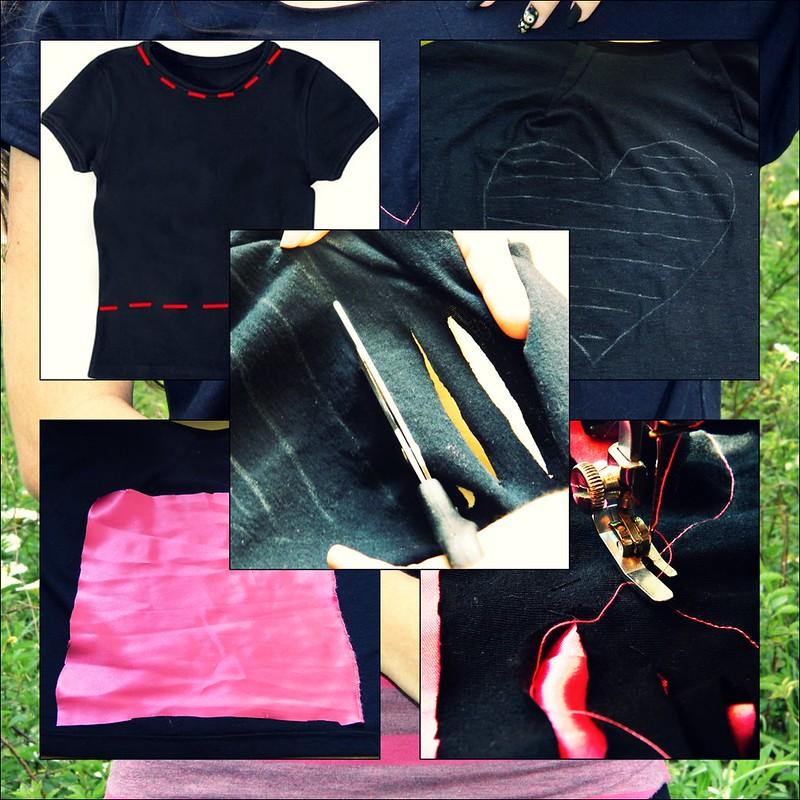tutorial cropped top crop blusa curta DIY como fazer faça voce mesma manga caida rasgada coração vazado rosa cetim baby look juliana leite