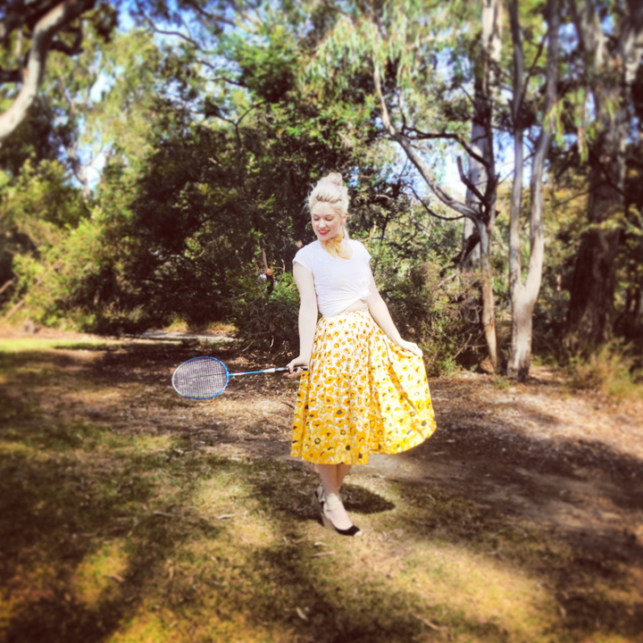 badminton vintage skirt yellow flowers