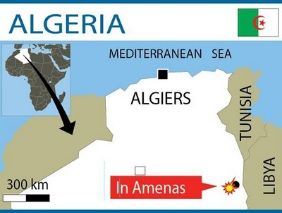 Map of the location of the In Amenas gas fields in the North African state of Algeria. A standoff with a group of armed men occupying the field and holding personnel has been attacked by the Algerian military. by Pan-African News Wire File Photos